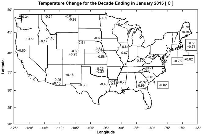 The Geography of USCRN Average Air Temperature Trends during the 2004-2014 Decade over the Contiguous United States