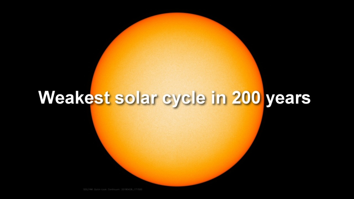 Solar Activity Flatlines: Weakest solar cycle in 200 years
